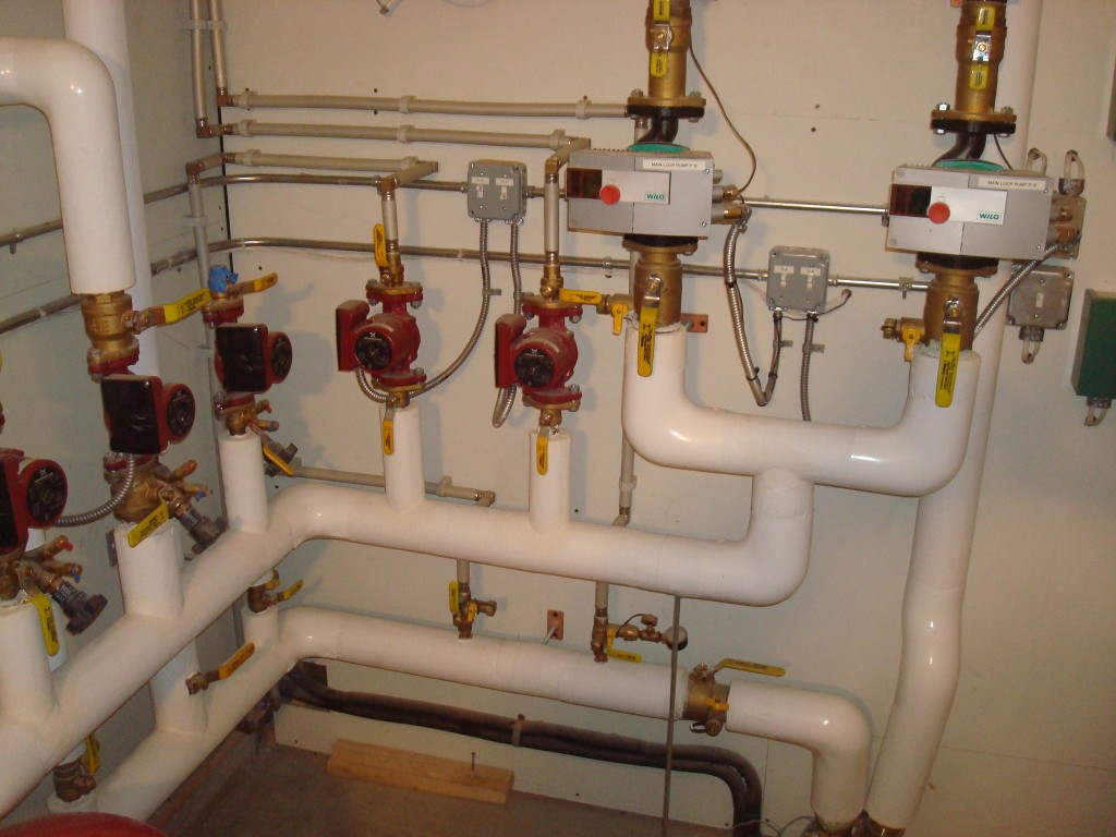 Wilo and Grundfos variable speed pumps and boiler plant
